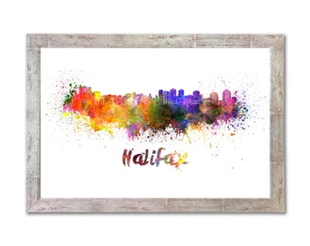 Halifax skyline in watercolor over white background with name of city - SKU 0300