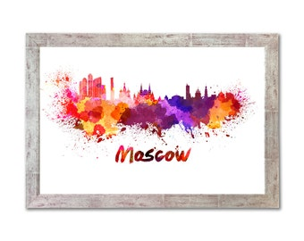 Moscow skyline in watercolor over white background with name of city  - SKU 0181