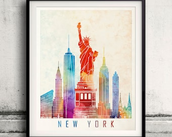 New York landmarks watercolor poster - Fine Art Print Glicee Poster Decor Home Gift Illustration Artistic Colorful Landmarks - SKU 2200