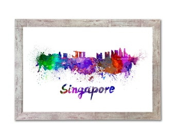 Singapore skyline in watercolor over white background with name of city - SKU 0270