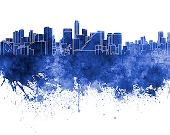 Mexico City skyline in watercolor on white, 8 monochrome colors, and full color - SKU 0621