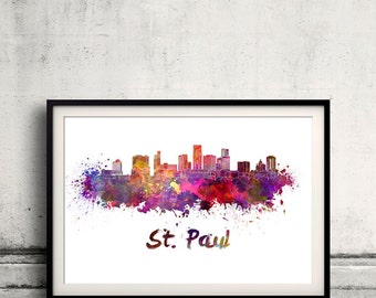 St. Paul skyline in watercolor over white background with name of city - SKU 1718