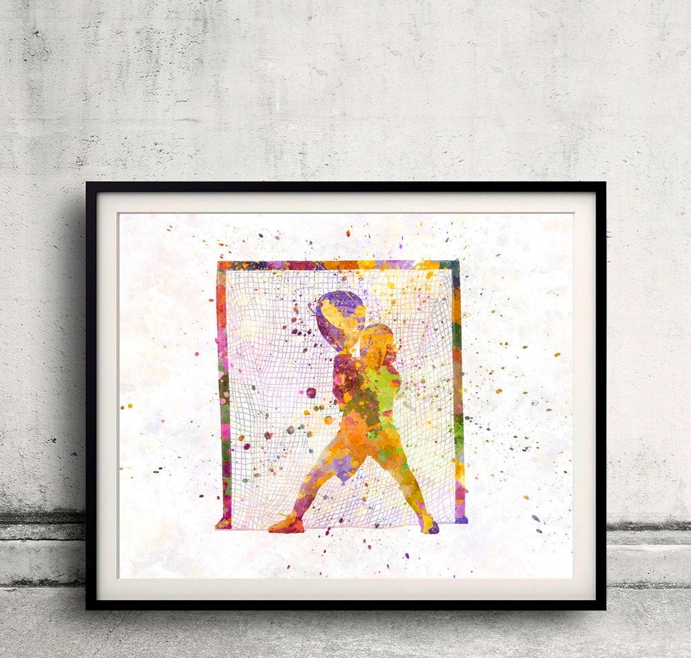 Lacrosse Frau 02 in Aquarell Aquarell Wand Kunst Sport | Etsy