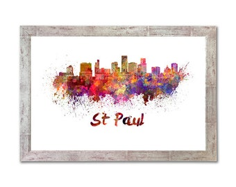 St Paul skyline in watercolor over white background with name of city - SKU 1059