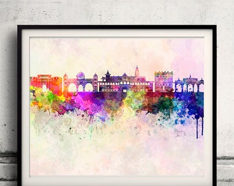 Pune skyline in watercolor background - Fine Art Print Glicee Poster Gift Illustration Colorful - SKU 1614