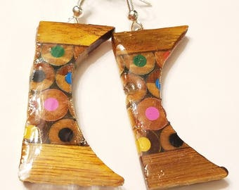 Colored Pencil Earring, Colored Pencil Jewelry, One of a kind Pencil Earrings, Colored Pencil Art, Wooden Jewelry, Fish hook, Rare jewellry