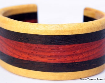 "Cuff Bracelet ~ Yellow Heart, Wenge and Paduk exotic woods Size S 6"" to 6.5"""
