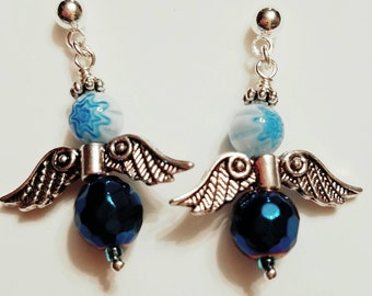 Angel Earrings, Fairy Earrings,  Dark Aqua metalic beads, Murano glass beads. Silver plated wings, Silver post nickle free earrings