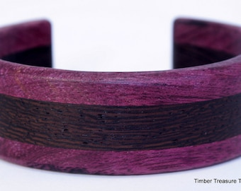Wooden Cuff Bracelet ~ Exotic Wenge with Purple Heart,  Cuff Style Bracelet ~ Custom order, Men's or Women's bracelet, Wooden jewelry