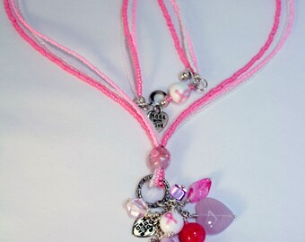 Breast Cancer Awareness, Lariat Necklace, Pink Ribbon necklace, Breast Cancer Support Charm, Survivor, Support, Healing jewelry, loss, love