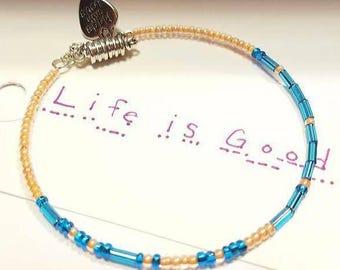 Life Is Good, Morse Code bracelet, Name Bracelets, Secret Message Bracelet, Secret Code Jewelry, Quote Jewelry, Custom, Magnetic Clasp