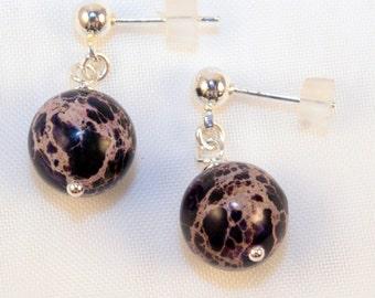 Purple Lace Agate drop post nickle free earrings