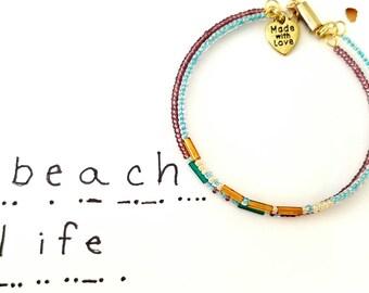 Beach Life, Morse Code Bracelet, New Trending Bracelets, Secret Message Bracelet, Secret Code Jewelry, Beach Life Jewelry, custom made