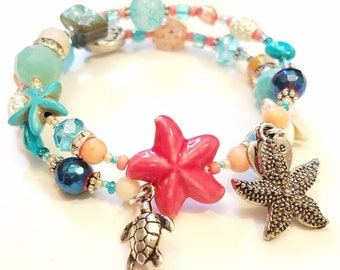 Spring Break beach colored glass beads, stone, shell, and coral. Starfish and a tiny sea turtle charms. ~ Memory Wire Bracelet