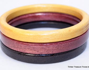 Slim Wood Bangle Bracelet, Domestic & Exotic Wood Jewelry, Stacking, Casual, Formal Wear, Hoop, Slip on, wrist fashion, Stack or solo wear