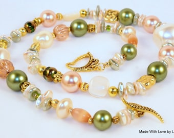 Shell and Pearl 20 inch Necklace, Sea shells, Peach, Olive and Creamy Pearls, gold butterfly clasp,