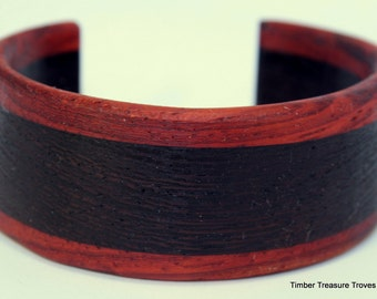 Wooden Cuff Bracelet ~ Wenge and Paduak Cuff Style Bracelet ~ Custom order, Men's or Women's bracelet, Wooden jewelry
