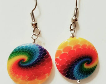 Rainbow Earrings, Disk Earrings, Bright colorful shell, swirl, dots, circle, beach wear, Silver plated, fish hook, nickle free earrings