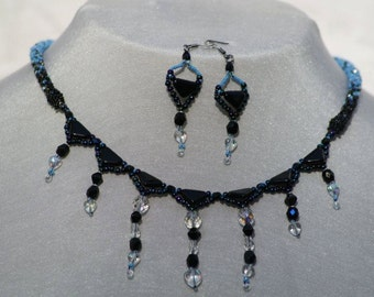 After Midnight~ 20 inch Beaded Necklace ~Adjustable chain~  Swarowski Crystals ~ One of a kind Jewelry made for U-niqueness