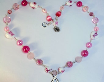 "Breast Cancer Awareness Beaded Chain 20"" Necklace ~ One of a kind Jewelry for U-niqueness"