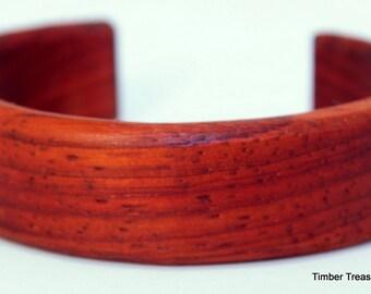 Wooden Cuff Bracelet ~  Petite, Paduak Cuff Style Bracelet ~ Custom order, Men's or Women's bracelet, Wooden jewelry