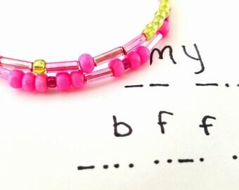 My BFF, Morse Code Bracelets, New Trending Bracelets, Secret Message Bracelet, Secret Code Jewelry, Best Friend Forever Jewelry