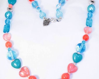 Aqua and Coral Beaded Necklace, Fresh Water Pearls, Beach Life, Handmade, Statement Necklace, Bohemian Fashion, Blue, Pink, Vacation Jewelry