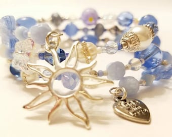 Soft blue crystal, White pearl Beaded Memory Wire Bracelet, Silver plated beads, Filigree Sun charm
