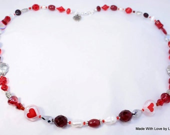 Passion Red  Beaded Necklace ~  Fresh water pearls, Swarowski crystals. ~ One of a kind Jewelry  made for U-niqueness