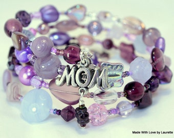 Customized Mother Bracelet, Birthstones for each Family Member, Beaded, Wrap, Custom Creation, Mother's Jewelry, One of a kind