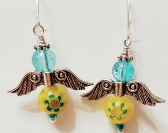 Angel Earrings, Fairy Earrings, Yellow Murano and Aqua glass bead, Silver plated wings, Silver post nickle free earrings, Guardian Angels