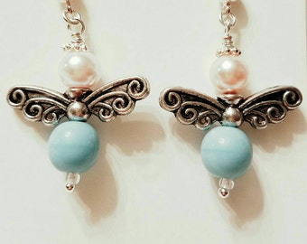Angel Earrings, Fairy Earrings, Pink glass Swarovski pearls, light blue glass beads. Silver plated wings, Silver post nickle free earrings