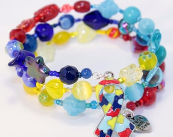 Autism Awareness Bracelet, Awareness Ribbon, Custom Order, Support Ribbon, Custom beaded Jewelry,