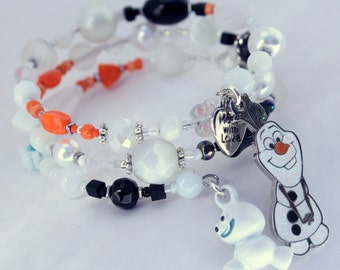 Olaf Bracelet, Frozen Bracelet, Custom Order, Personalized, Disney, Custom beaded Jewelry, Wrap bracelet, Princess Elsa, Anna Jewelry