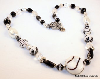 Black and White 20 inch Beaded Necklace Handmade Lampwork Focal, Pearls, glass beads, Globe design, Onyx, Crystal, Stripes, Silver Necklace