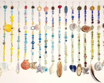 Glass Bead curtain, window, wall, sea shells, unusual decoration, valance, custom made bead curtain, beach, mountain, sun catcher, wooden