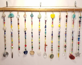 Beaded curtain, window, valance, art, palm, Rose Quartz, Amethyst, shells, turquoise, prism, sun catcher, meditation, chakras, sun catcher