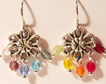 Rainbow, shortened hook earrings,  Fun Glass Beads, Flower, dangle, Nickle free hook, hand twisted beads, dream catcher