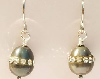 Fresh Water Pearl Earrings, inlaid Crystals, small hooks, Green Pearls, Pearl, handmade, unusual color, Pearl Green, opalecent green,