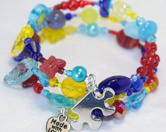 Autism Awareness Custom Bracelet ~ Custom Order ~ Personalized ~ Awareness Ribbon ~ Support Ribbon ~ One of a kind Jewelry for U-niqueness