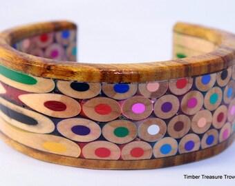 Colored Pencil Cuff Bracelet, Color Pencil Jewelry, Cuff Style Bracelet, Colored Pencil Art, Custom order, Men's or Women's bracelet,