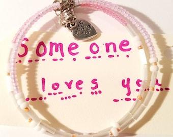 Someone Loves You, Morse Code Bracelets, Message jewelry, Secret Message Bracelet, Secret Code Jewelry, quote, beaded, custom, handmade