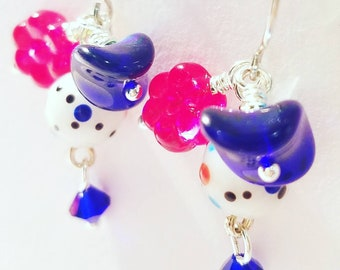 Red, White and Blue shortened hook earrings,  Fun Glass Beads, Flower, dots, dangle, Nickle free hook, hand twisted beads,