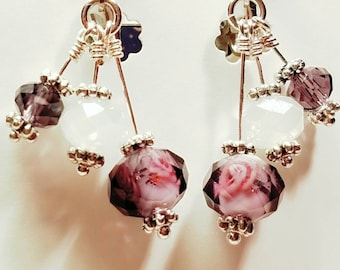 Crystal Chandelier Earrings, Formal Wear, Amethyst lamp work, Formal Wear, Bride, Brides Maids, Amethyst, White with Silver Clip On earrings