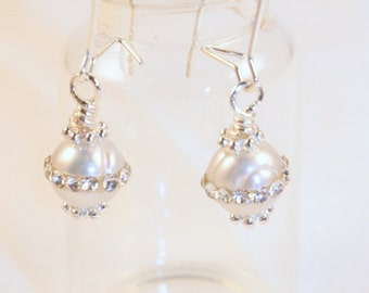 White Fresh Water Pearls inlaid with crystals, small kidney shape earrings, Nickle free kidney wire hand twisted beads