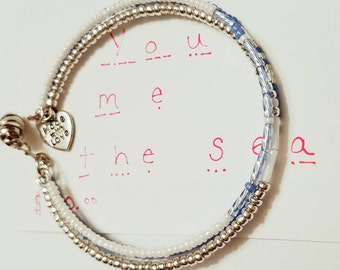 You Me The Sea,  Morse Code Bracelets, Statement Bracelet, Secret Message Bracelet, Secret Code Jewelry, Quote Jewelry, Beach Wear, custom