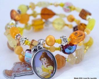 The Beauty and The Beast Bracelet, Belle Bracelet, Chip, Custom Order, Disney, Custom beaded Jewelry, Wrap bracelet, includes a Free gift