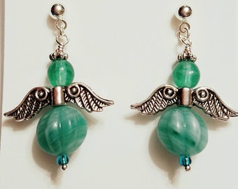 Angel Earrings, Fairy Earrings, Emerald frosted glass beads, Emeral glass beads. Silver plated wings, Silver post nickle free earrings