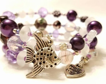 Light and Dark Purple, pearl white, and silver, Beaded, Memory Wire Bracelet, Silver plated beads, Elegant Fish Charm