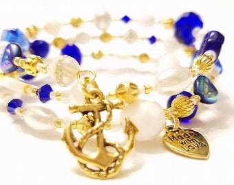 White, Brilliant Blue and Pearl Beaded Memory Wire Bracelet, Gold plated beads,  Golden Anchor charm, Nautical